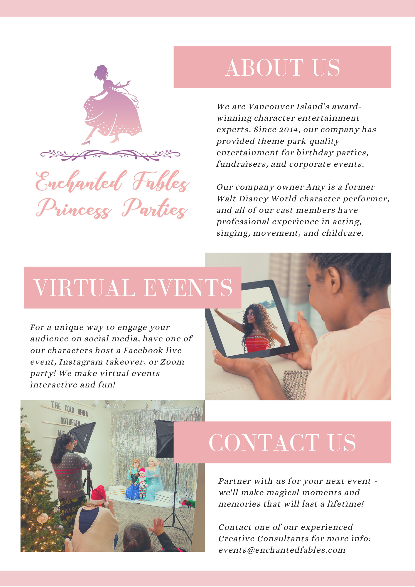 Birthday party entertainment, character performers for virtual events, virtual birthday party, facebook and instagram live events, zoom events, and more!